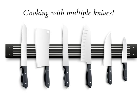 Cooking with multiple knives