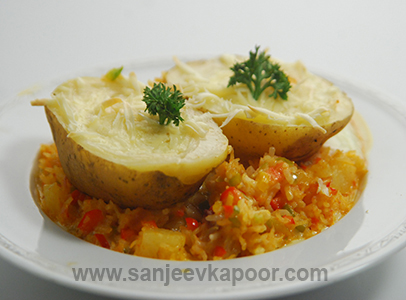 Baked Potatoes with Buttered Rice