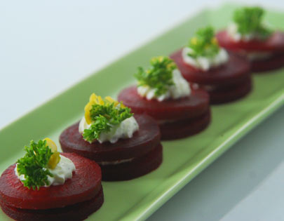 Beetroot And Yogurt Cheese Piles