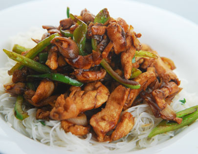 Chicken And Rice Noodle Stir Fry