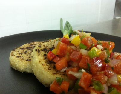 Cottage Cheese And Parmesan Steak With Papaya Sals