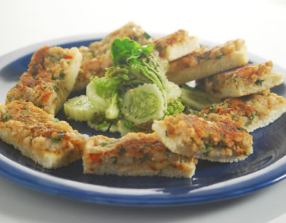 Crisp Prawn Toast With Cucumber, Chilli And Sesame