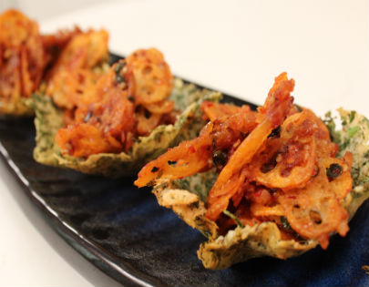 Crispy Lotus Stem in Masala Curry Parmesan Baskets