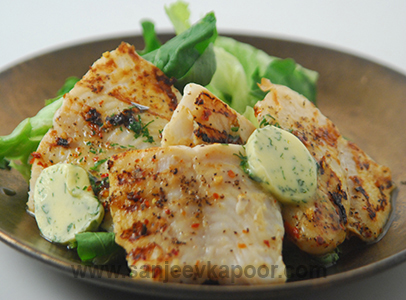 Grilled Fish with Coriander Butter