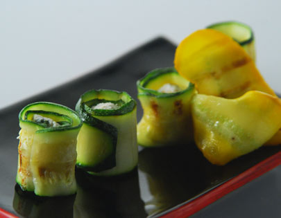Grilled Zucchini And Cottage Cheese Rolls
