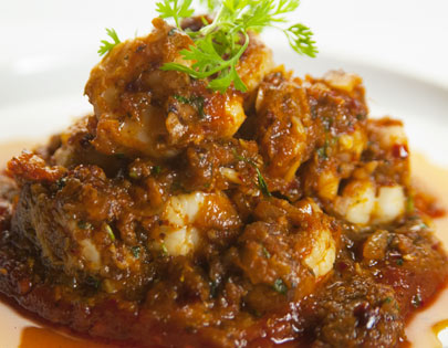Kadai Prawns With Roasted Pepper Jam