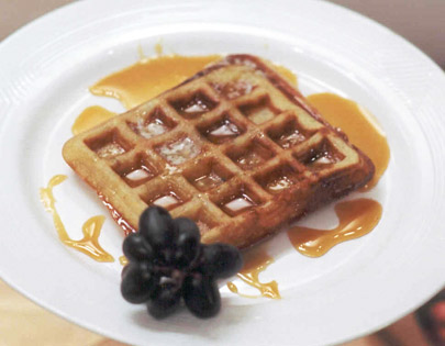 Nutty Waffles With Orange Caramel Sauce