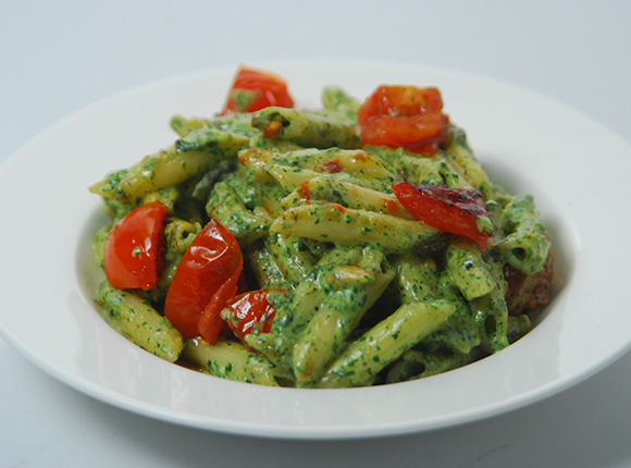 Penne with Spinach Pesto-Cook Smart