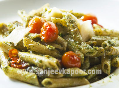 Penne With Creamy Pesto And Cherry Tomatoes