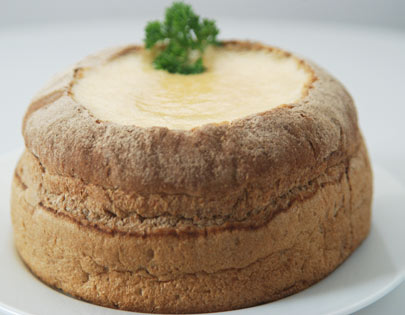 Potato And Corn Chowder In Bread Bowl