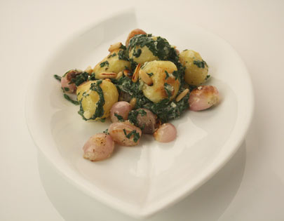 Potato and Onion Salad with Spinach