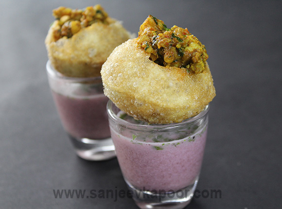 Sol Kadhi Shots with Prawn Golgappa