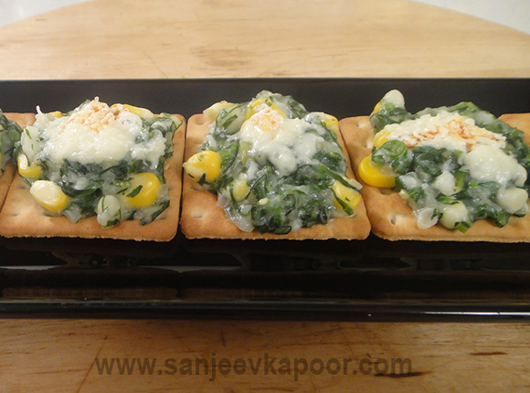 Spinach and Corn on Crackers