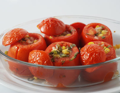 Sweetcorn Chilli Salsa Stuffed Tomatoes