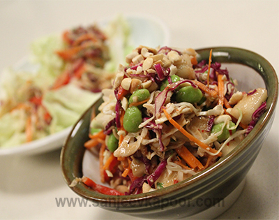 Thai Crunchy Salad with Peanut dressing