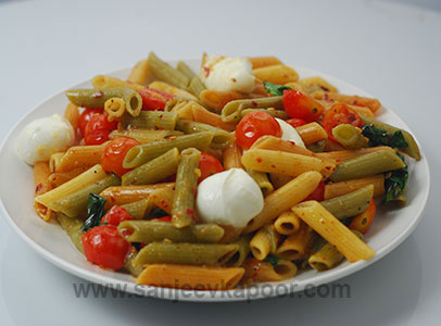 Tricolour Penne with Fresh Mozzarella