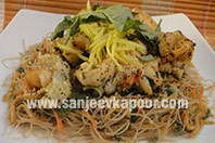 Basil Prawns with Rice Noodles and Raw Mangoes