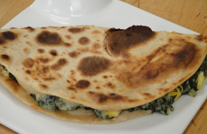 Spinach and Corn Quesadilla