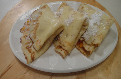 Thai Crepes with Papaya and Mango Filling